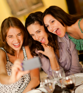 Three women taking a selfie picture